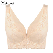 Meizimei women bh push up lace bra bras XXX Plus size ladies luxury underwear sexy lace brassiere femme lingerie 115 D-F X0938