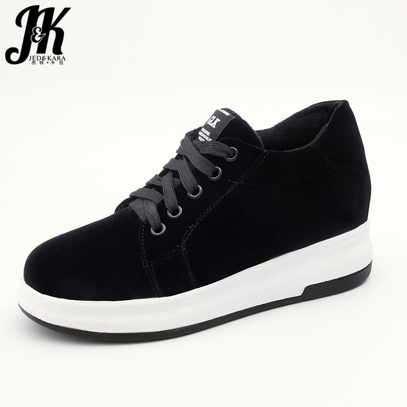 JK New Big Size Women Flats Lace Up Flock Platform Round Toe Footwear 2018 Brand Spring Fashion Casual Elevator Sneakers Shoes