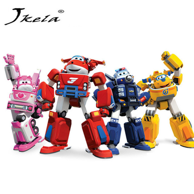 [Jkela] 17cm Super Wings Transformation toys Deformation Airplane Robot Action Figures Super Wing  for children gift action susengo 1pcs eletronic wings mini airplane abs robot induction sound card toys action figures super wing transformation jet kids