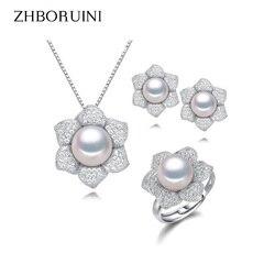Perla de moda zhboruini conjunto de joyas anillos de perlas de agua dulce naturales collar pendientes 925 joyería de plata de ley para regalo de las mujeres