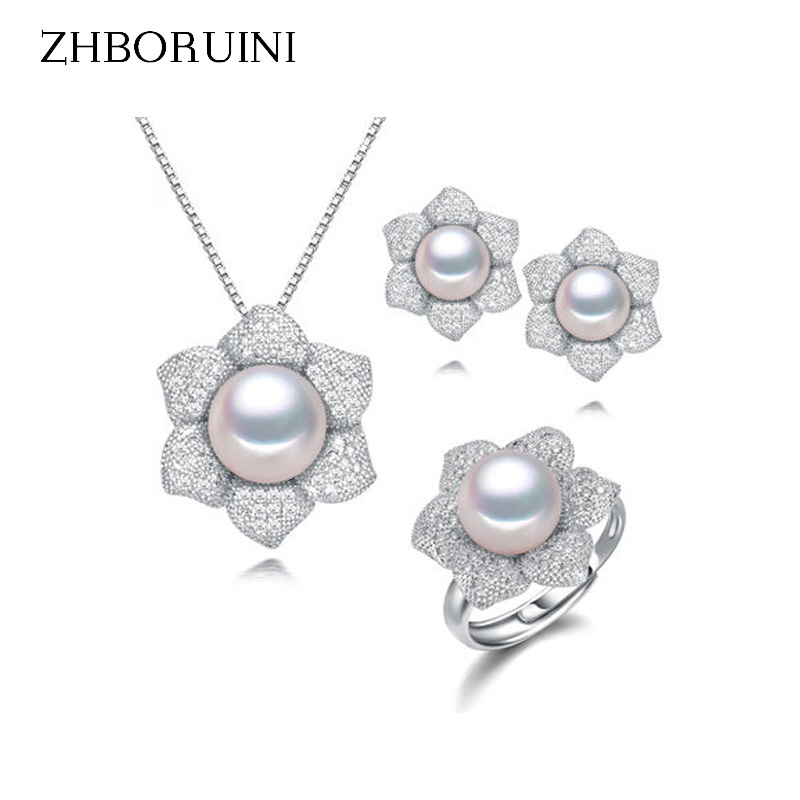 ZHBORUINI Fashion Pearl Jewelry Set Natural Freshwater Pearls Rings Necklace Earrings 925 Sterling Silver Jewelry For Women Gift