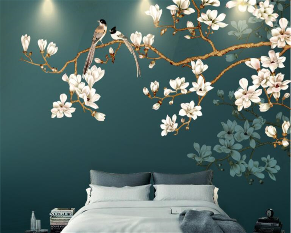 Beibehang personalizado decoração interior papel de parede pintado à mão novo estilo chinês flores e pássaros 3d pano fundo