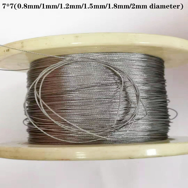 10M  304 Stainless Steel Wire Rope  Softer Fishing Lifting Cable 7X7 Structure 0.8mm,1mm,1.2mm,1.5mm,1.8mm, Diameter