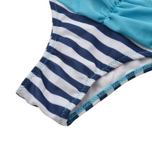 Blue Stripe Bikini Set (Underwired Push-Up)