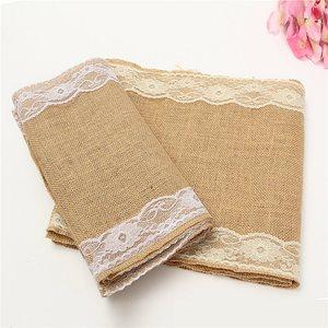 280x30 cm Home Textil Vintage Leinwand Lace Tisch Läufer Natürliche Jute Land Partei Bankett Hochzeit Dekoration Top Qualität