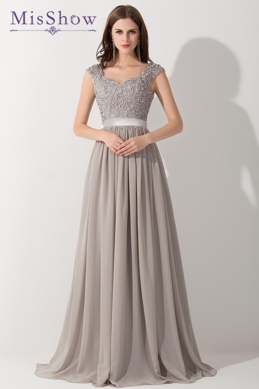2019 New Long Evening Dresses Gray Chiffon A Line Beaded Lace Bodice Elegant See Through Back Vestido De Fiesta