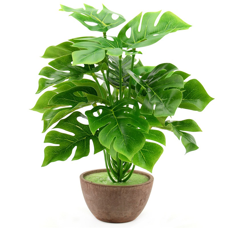 1 Bouquet/18 leaves Artificial Silk Palm Monstera Leaves Plant for Hawaii Luau Party Decorations Beach Wedding Table Decoration 1