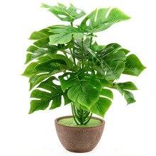 1 bukiet/18 liści sztuczny jedwab dłoni liście monstery roślin na hawaje dekoracje na imprezę Luau plaży stół weselny dekoracji