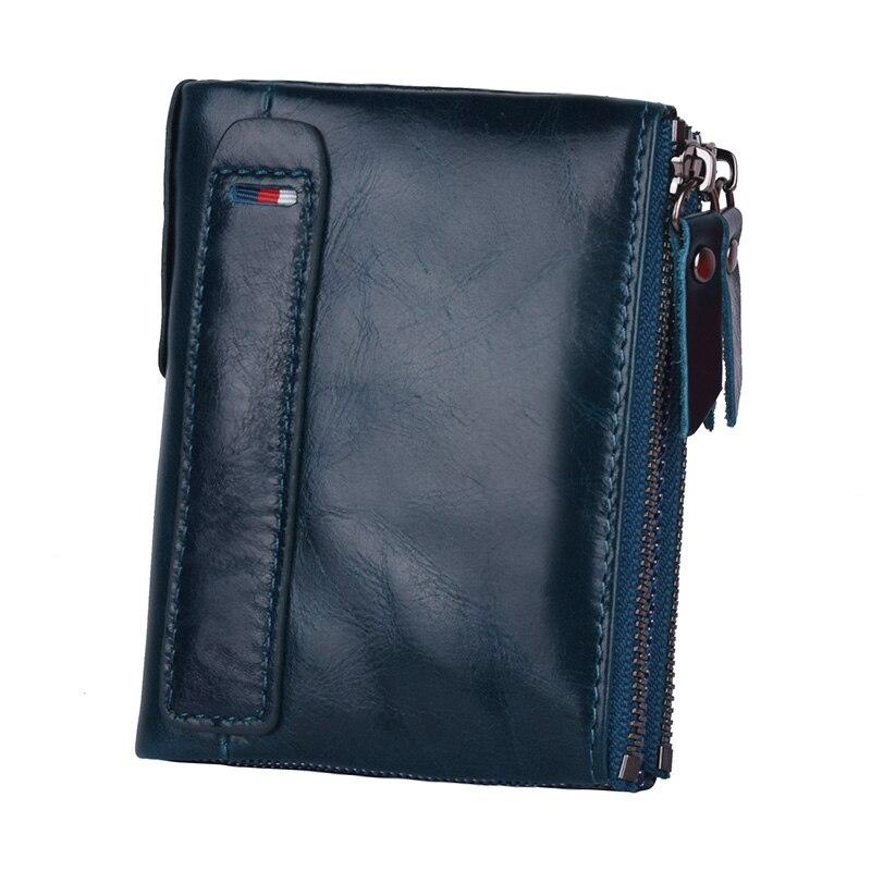 Klsyanyo de hombre de cuero genuino de las mujeres/cartera bolsos neutral Rfid bolsas de dinero cartera con las señoras tarjeta moneda monedero