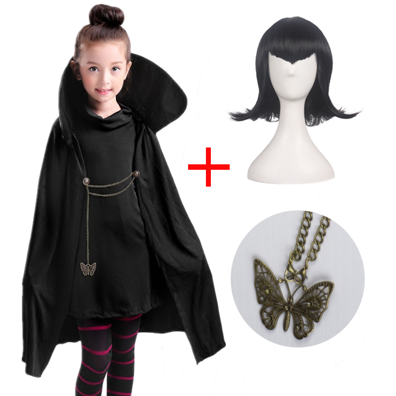 Cartoon Hotel Transylvania Mavis Cosplay Costume Fancy Girls Black Cape Coat Wig With T-shirt Pants Halloween Carnival Costume
