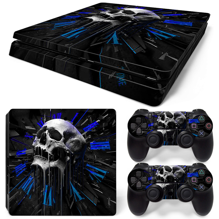 Free Drop Shipping For Playstaion 4 for PS4 Slim Console Skin Stickers+ 2Pcs Controller Protective Skin Stickers  skulls