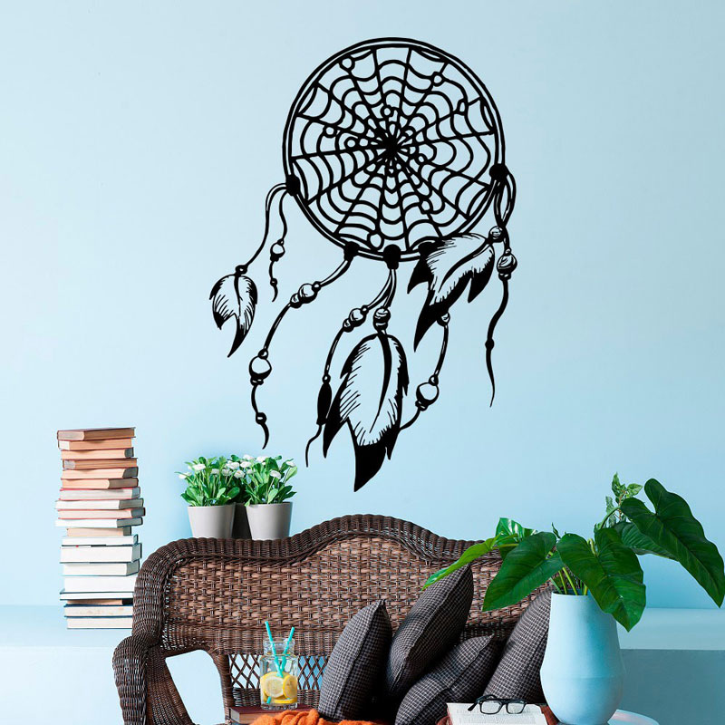 Wall decals boho dream catcher  decals bohemian bedding living room artist residence decoration ZM06-in Wall Stickers from Home & Garden