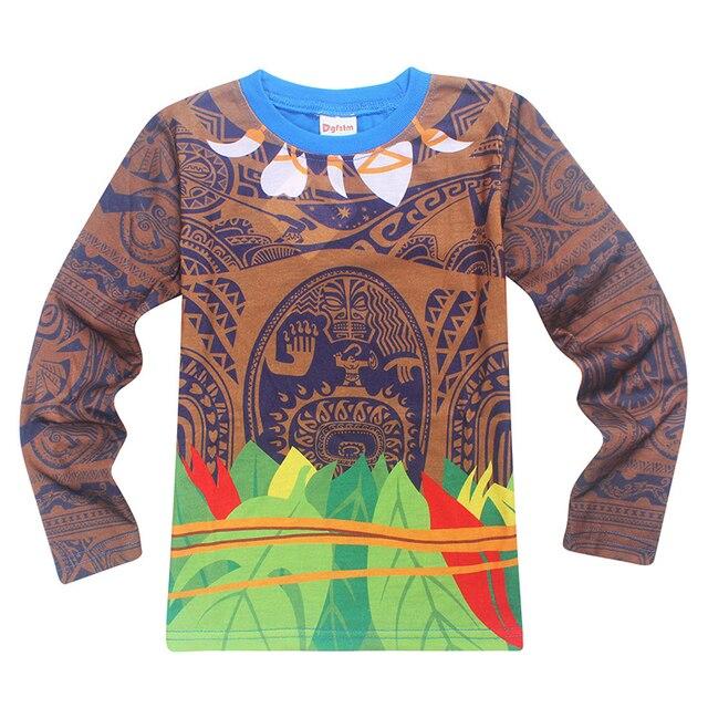 1ecc1b45 2017 New Autumn Baby Girls Moana Maui Kids Children Clothes Boys and Grils Long  Sleeve Anime T-shirt Vaiana t shirt