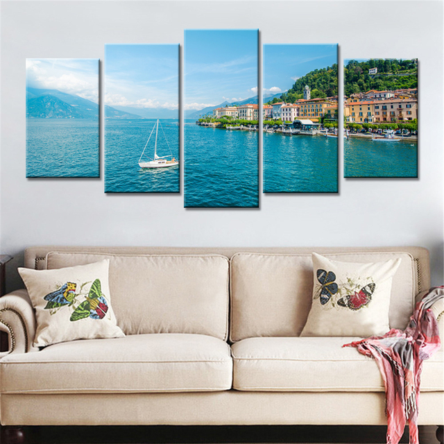 Charming 5 Panels Drop Shipping Home Decor Wall Art Pictures Seaside Seascape Blue  Sky Painting Fashion Decorative