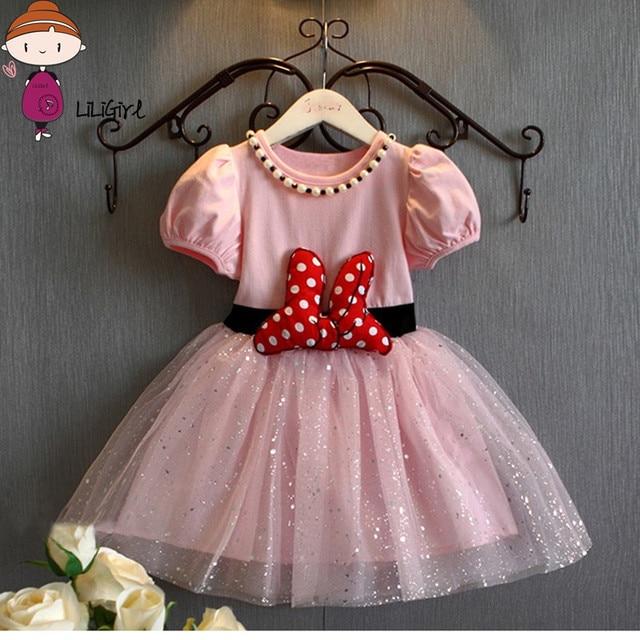 45e1b6bf9411f Meninas Do Bebê verão Vestido de Minnie Mouse Vestidos Para Meninas Vestido  de Princesa Minnie Festa