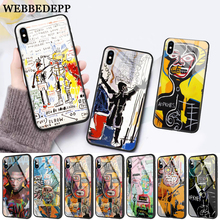 WEBBEDEPP Artist Jean Michel Basquiat Glass Phone Case for Apple iPhone 11 Pro X XS Max 6 6S 7 8 Plus 5 5S SE