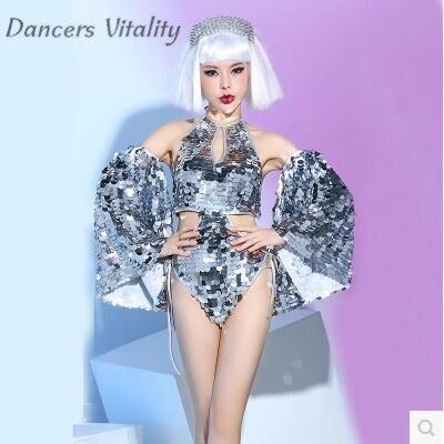 DS пикантные серебряные этапе новый крючок для ночного клуба ночь певица DJ Танцы команды сексуальное Костюмы Сценические костюмы для певцов...