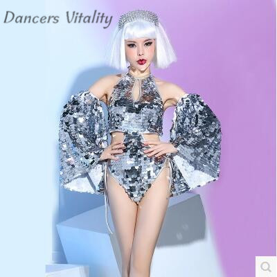 Ds Sexy Silver Stage New Bar Nightclub Night Singer Dj dance Team Sexy Clothing Stage costumes for Singers Jazz Dance Costumes
