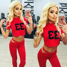 Sexy Red Color Women Yoga Top + Pants 2 Pieces Sets Fitness Wear Thin Sportsuit Short Tops Women's Yoga Pants Playsuit