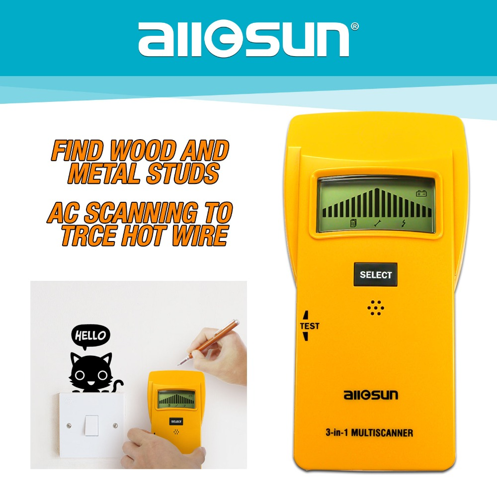 US $21 12 36% OFF|ALL SUN 3In1 Metal Detector Find Meta lWood Studs AC  Voltage Live Wire Detect Wall Scanner Electric Finder Wall Detector TS79-in