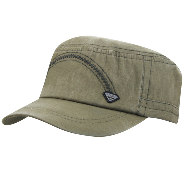 Mens Cadet Army Summer Linen Flax Basic Military Style Solid Fitted Flat  Top Peaked Baseball Ajustable 28b6296b11d