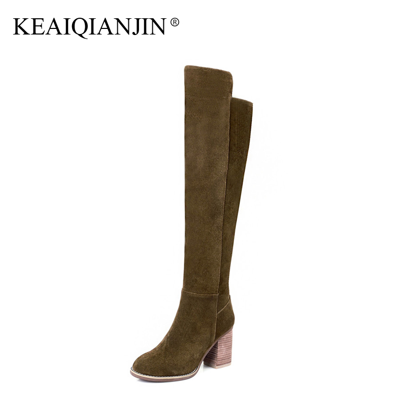 KEAIQIANJIN Woman Knee High Boots Mujer Pointed Toe Autumn Winter Bottes Shoes High Heel Genuine Leather Riding Boots 33 - 41
