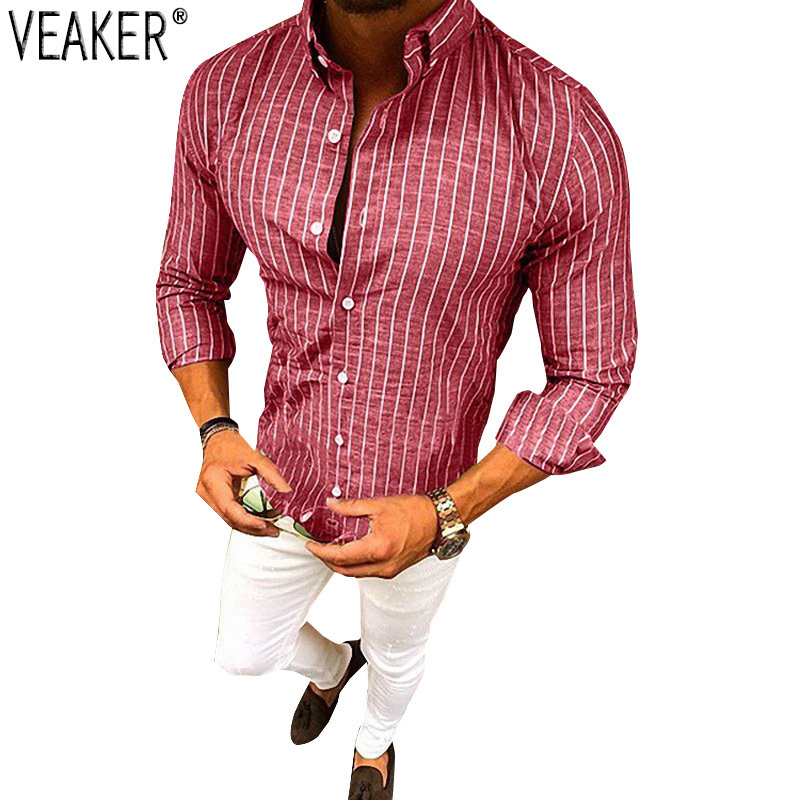 2019 New Men's Cotton Linen Striped Shirt Male Autumn Sexy Slim Fit Shirt Long Sleeve Red Blue Striped Linen Shirt M-3XL