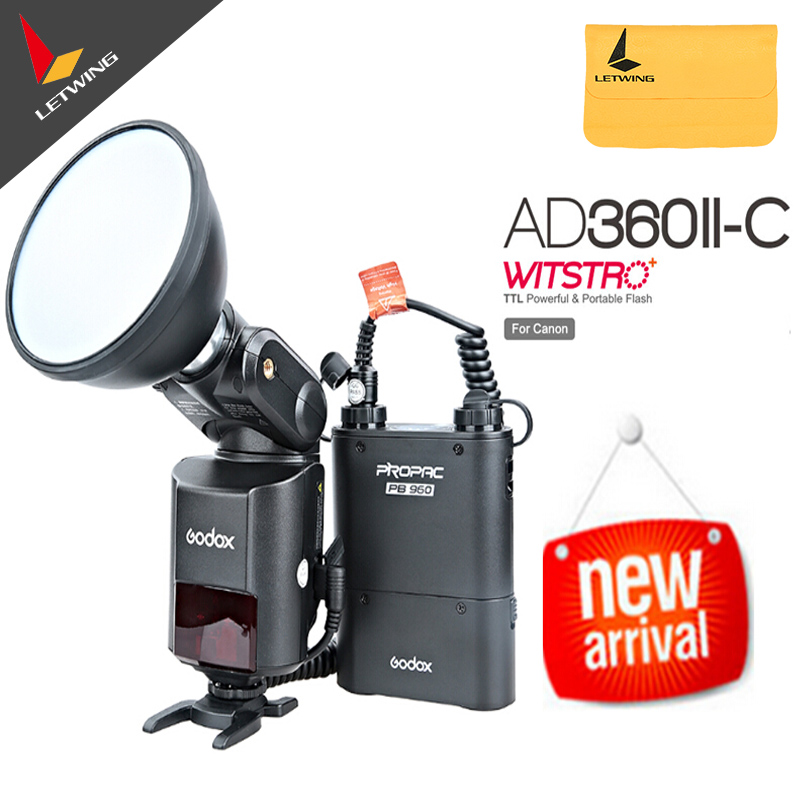 Original Godox Witstro AD360II-C TTL 360W GN80 Powerful Speedlite Flash Light+4500mAh PB960 Lithium Battery for Canon EOS Camera 30w 110v heat pencil tip welding solder soldering iron kit electronic tool b813