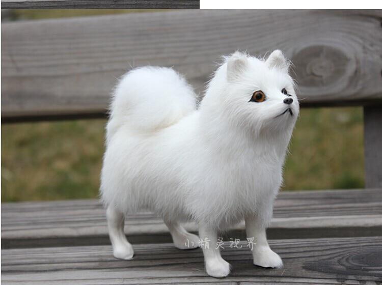 puikus natūralus odos audinio šuo modelio žaislų modeliavimas Samojedo šuns modelio žaislas apie 24 * 20 * 8cm 1398