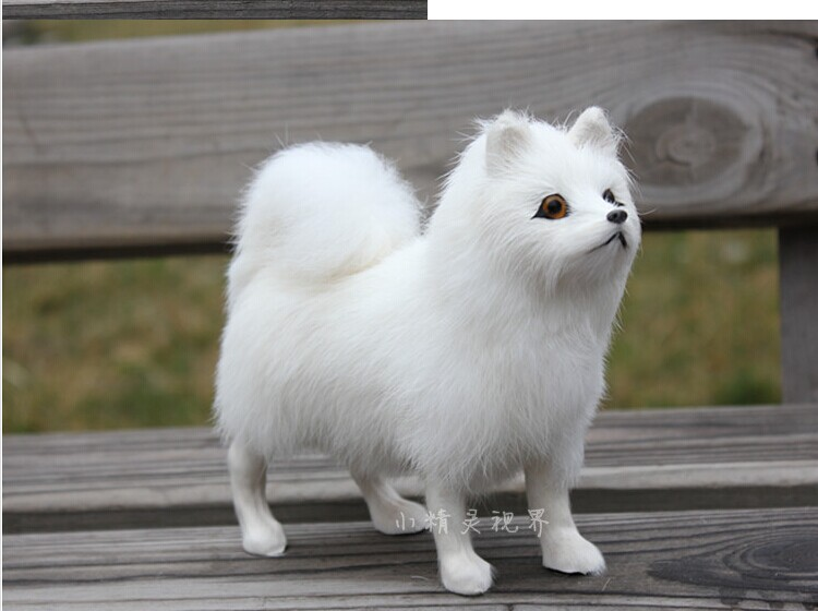 прекрасна истинска кожа плат модел куче играчка симулация Samoyed куче модел играчка около 24 * 20 * 8cm 1398