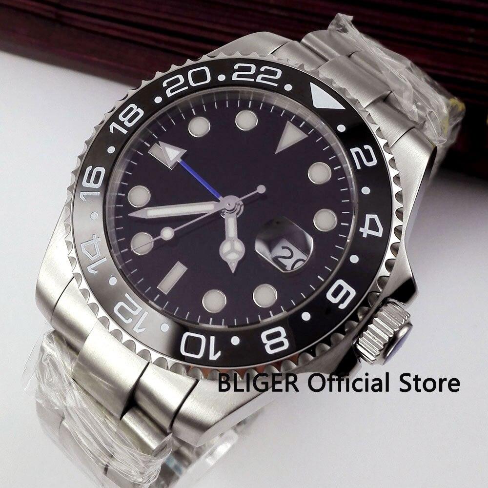 BLIGER 43mm Black Sterile Dial Ceramic Rotating Bezel Blue GMT Pointer Luminous Marks Sapphire Automatic Movement Men's Watch