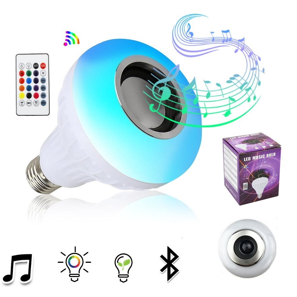 E27 Smart RGB Wireless Bluetooth Speaker Bulb Music Playing Dimmable LED Bulb Light Lamp With 24Key IR Remote ControlE27 Smart RGB Wireless Bluetooth Speaker Bulb Music Playing Dimmable LED Bulb Light Lamp With 24Key IR Remote Control