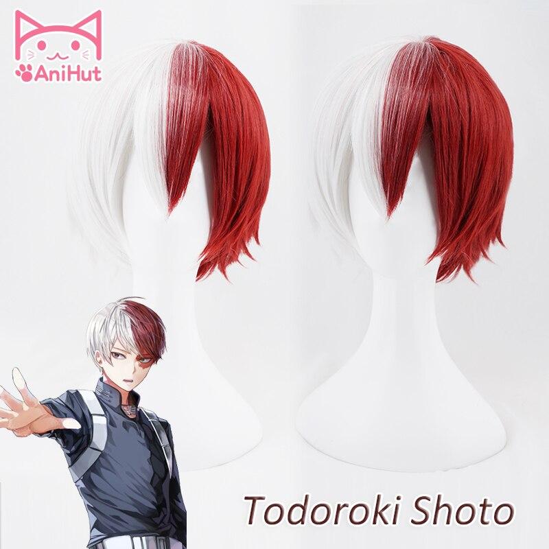 【Animut】shouto todoroki boku nenhum herói academia cosplay peruca curto vermelho/branco anime meu herói academia cosplay peruca todoroki shoto