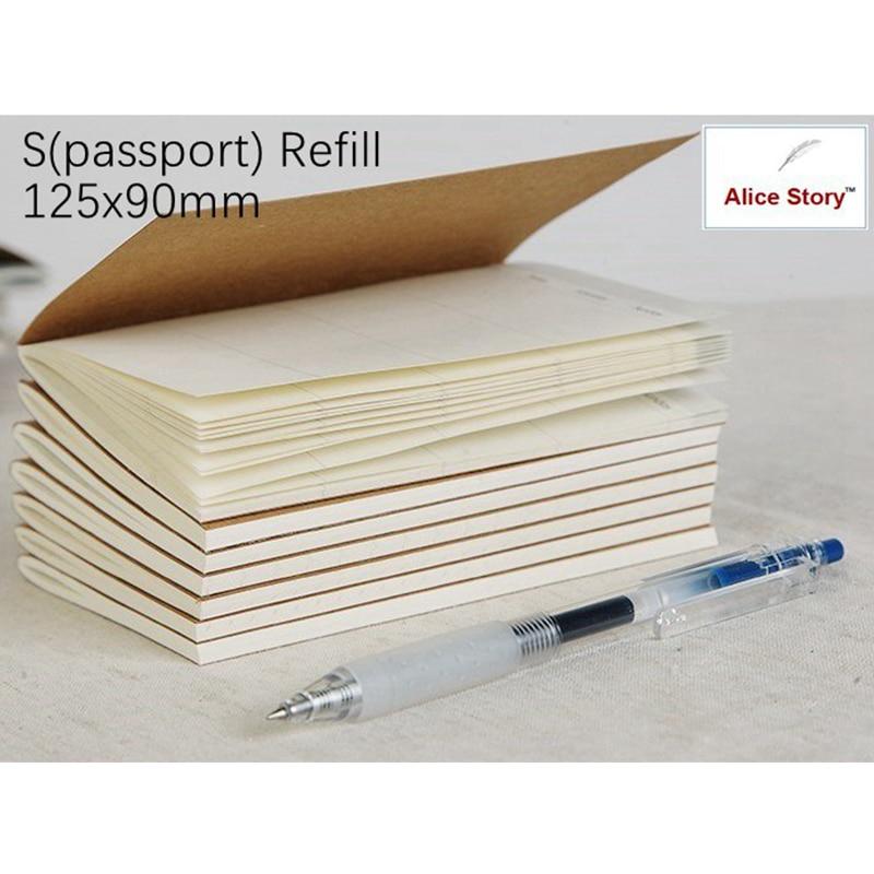 Traveler'S Notebook S Size Refill Replace Notebook Inner Core (Passport Type 12X9) Mini Kraft Jpaper Diary Memo Journal
