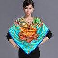 2016 весна высокого качества 100% натуральный шелк атласный Шарф, Шаль wrap женщины женский мода большой площади Шарфы pattern 105x105 СМ