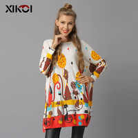 XIKOI Winter Cats Sweater For Women Oversized Pullovers Knitted Long Beautiful Jumper Fashion Printed Pull Femme O-Neck Clothes