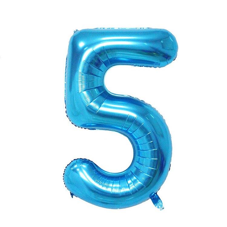 32 дюйма розовый синий 40 дюймов красный фольгированный шар большой гелиевый номер 0-9 Globo день рождения для детей Вечеринка мультфильм шляпа Декор - Цвет: blue 5