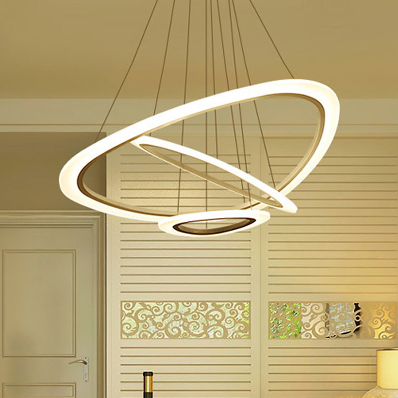 Modern LED Circles Pendant Lights Living Dining Room Fixtures With Remote Dimmable Rings Home Decor Bedroom White Hanging LampModern LED Circles Pendant Lights Living Dining Room Fixtures With Remote Dimmable Rings Home Decor Bedroom White Hanging Lamp
