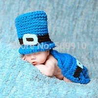 Cotton Knitted Baby Top Hat And Cape Set Newborn Photography Props Crochet Knit Boy Costume Outfit