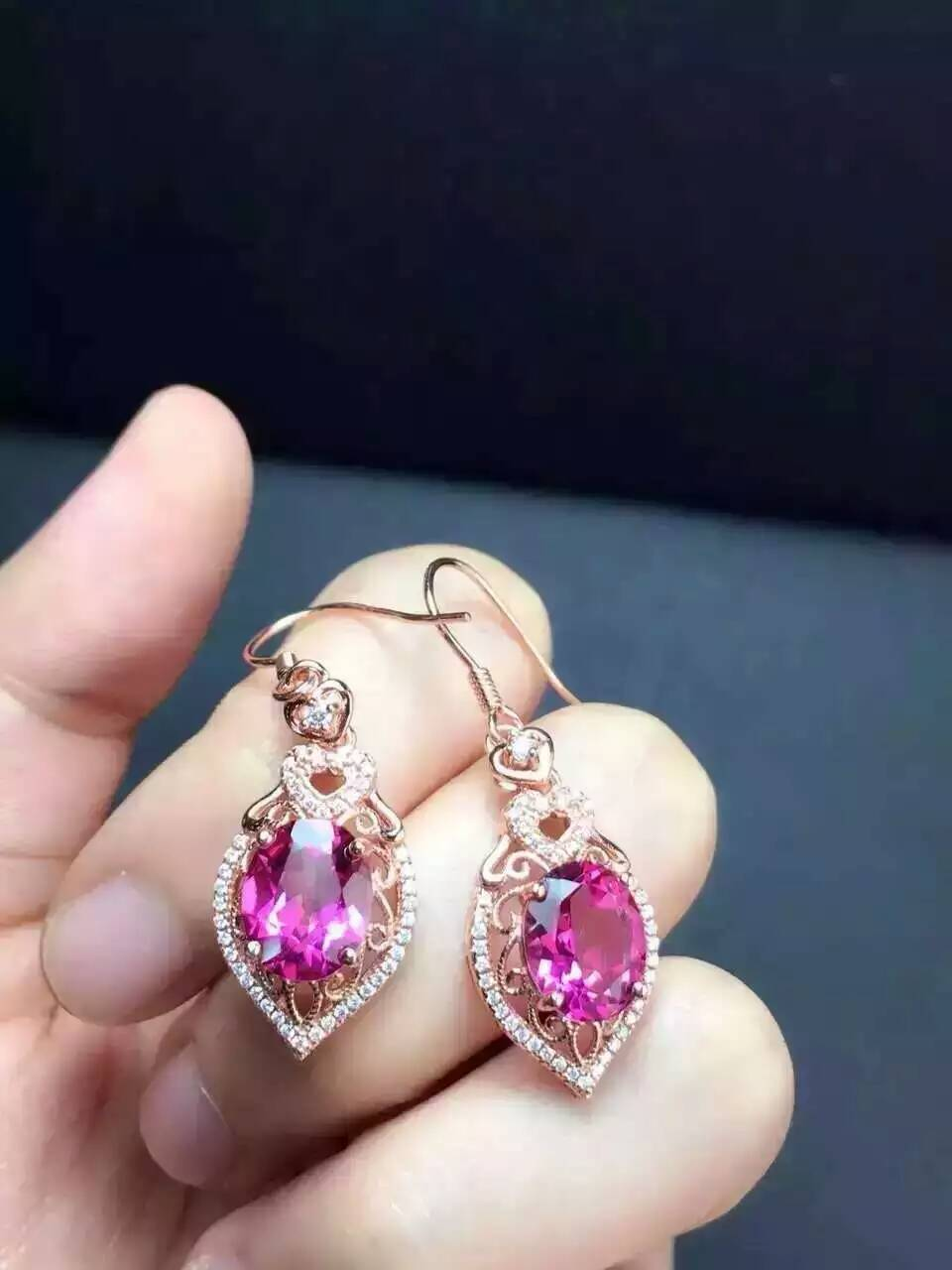 natural pink topaz stone drop earrings 925 silver Natural gemstone earring women romantic heart drop Earrings for anniversary