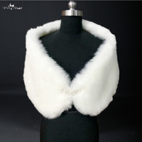 RSJ18 Ivory Wedding Faux Fur Stoles Shawl Wraps Bolero Coat