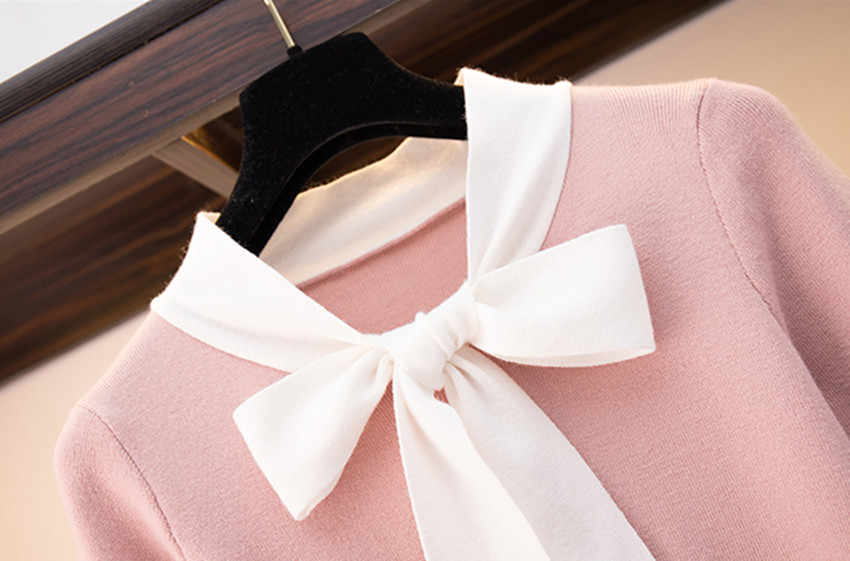 HAMALIEL מתוק 2019 אביב נשים סוודר חצאית חליפות ורוד Bowknot להיט צבע סרוג דק חולצות וקצר טוויד משובץ חצאית סטים