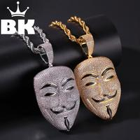 THE BLING KING Custom V Character Murder Team Mask Necklace Hip Hop Full Iced Out Cubic Zirconia gold sliver CZ Stone