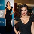 Kim Kardashian vestido sereia ruiva decote manga curta celebridade Formal vestido vestido longo de renda