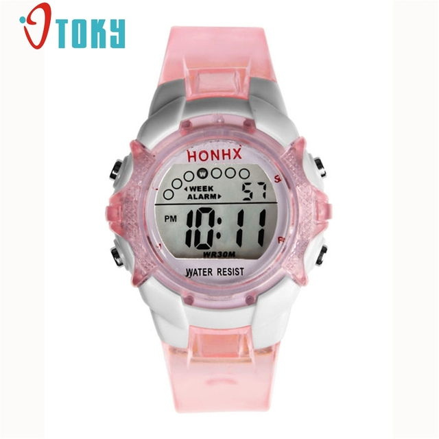 OTOKY Waterproof Children Girls Digital LED Quartz Alarm Date Sports Wrist Watch