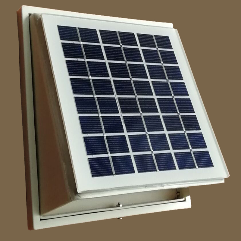 PP PLASTIC SOLAR WALL FAN VENTILATOR EXTRACTOR 68 CFM BRUSHLESS DC MOTOR  for SHED title=