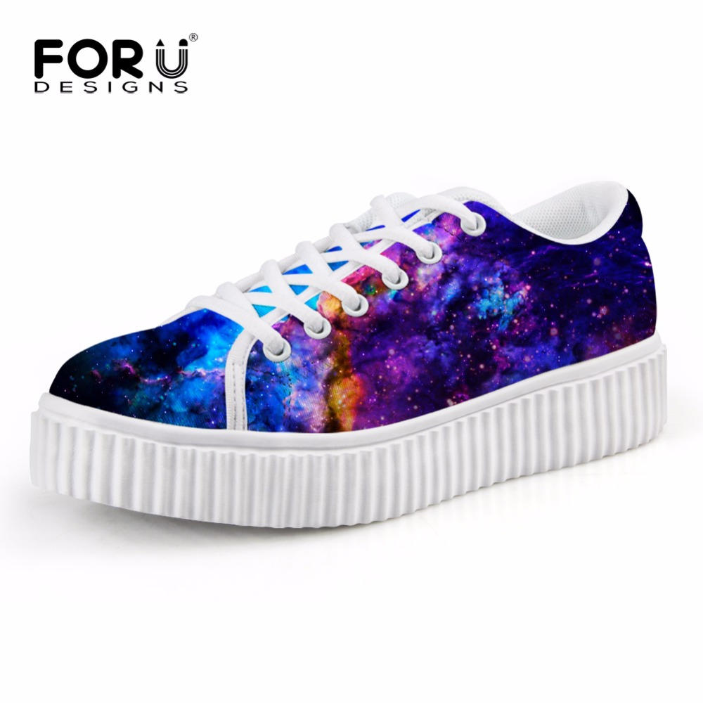 ФОТО FORUDESIGNS Women Galaxy Platform Shoes Casual Lace-up Flat Shoes Breathable Spring Summer Ladies Creepers Comfort Woman Flats