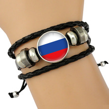 Many Country Flags Russia France Portugal Germany Serbia Poland England Spain Belgium Soccer Sports Leather Charm Bracelets
