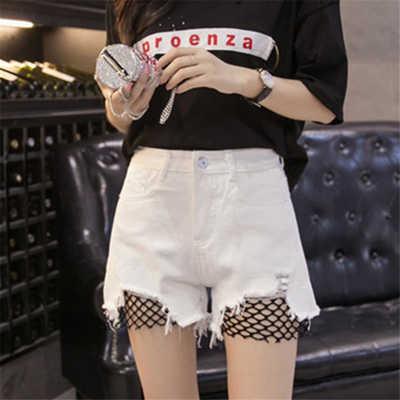 S-5XL 2018 Summer Korean Fashion Denim   Shorts   Women Casual Blue Tassel Ripped Button High Waist   Short   Jeans Femme