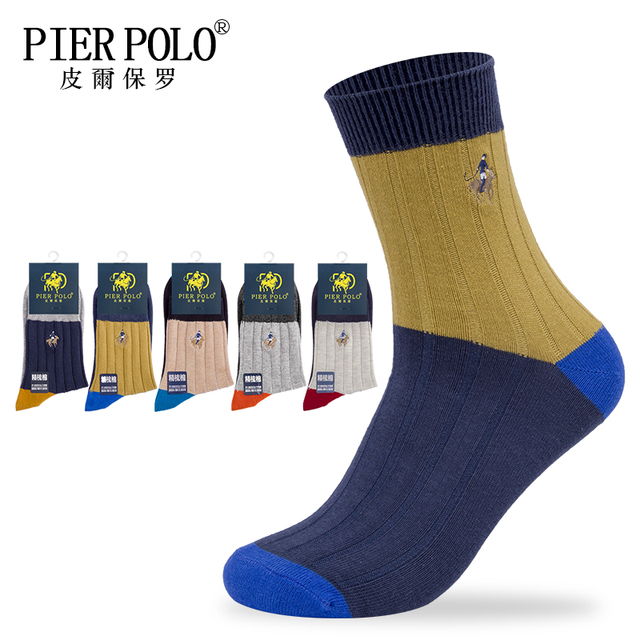 PIER POLO High Quality New Arrival Brand 5Pairs/lot Men Socks Cotton stripe Classic Men's Socks Deodorant Spell color Dress Sock